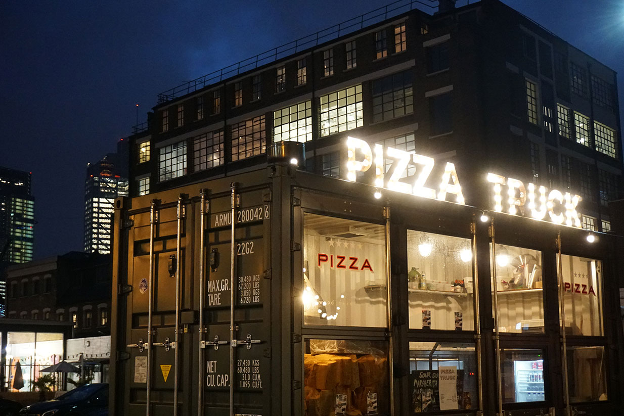 Pizza Truck, Ely's Yard, Outdoor Event Space, Hanbury Street, Spitalfields